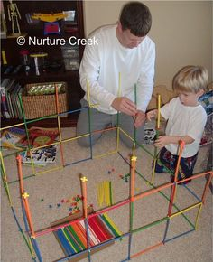 "Sherry from Nurture Creek posted photos of her son's Christmas fun in 2008! One of his presents happened to be our very own Straws and Connectors! Visit her post to learn more about his Straws and Connectors structure–dubbed, the ""Monkey House!"""