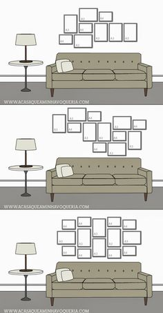 New Wall Frames Couch Picture Arrangements Ideas Picture Arrangements, Photo Arrangement, Home Deco, Wall Design, House Design, Design Design, Gallery Wall Layout, Gallery Walls, Art Gallery