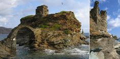 Ruins of the Venetian sea castle and of a remaining tower in Andros