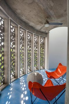 'El Blok ShareGrid View A highlight of Fuster & Architects' ecological, light-filtering El Blok, on the Puerto Rican island of Vieques, is a billowing sun screen of reinforced concrete that echoes the sculptural forms of nearby coral reefs.' Vieques, Puerto Rico