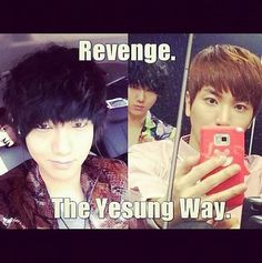 "The ""over the shoulder smouldering glance"" selfie revenge...mwahaha!! Super Junior funny"