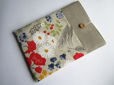 Poppies linen MacBook sleeve 13 with pockets by LinenSleeve, $25.00