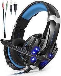 cool Auriculares Cascos Gaming ArkarTech Headset Gamer con Micrófono Juegos Estéreo LED Para PS4 Portátiles Móviles Tablet PC Nuevo Xbox One Mac Nintendo