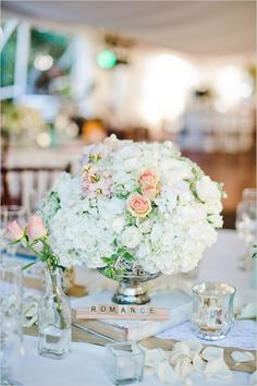 elegant wedding centerpiece ideas with scrabble table names Wedding Flower Arrangements, Wedding Centerpieces, Floral Arrangements, Wedding Decorations, Centerpiece Ideas, Elegant Centerpieces, Garden Wedding, Wedding Table, Fall Wedding