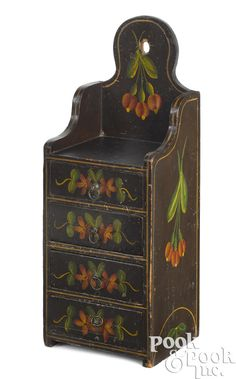 Pennsylvania painted pine wall box, ca. with a scrolled gallery over a bank of four drawers, retaining the original floral and foliate decoration on a brown background, 15 Painted Pine Walls, Wall Boxes, 4 H, Pennsylvania, Drawers, Old Things, Auction, The Originals, Decoration