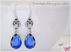Ohrhänger - Elegante Vintage Ohrhänger Silber Tropfen blau - ein Designerstück von Zauberhafte-Ohrringe-in-Silber bei DaWanda