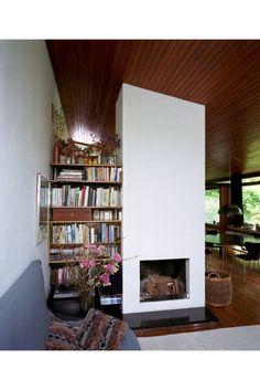 Interior, dining room/living room, detail of fireplace - Clapperfield, Nether Liberton, Edinburgh by Stuart Renton (1959)