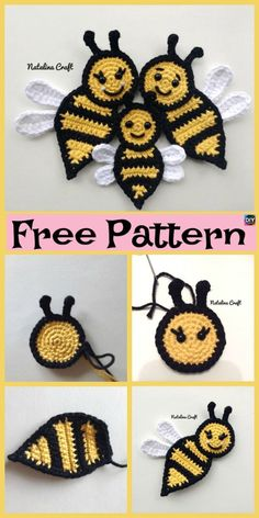 Cute crochet applique bees - free patterns - crochet and knitting patterns . - Cute crochet applique bees – free patterns – crochet and knitting patterns – # Instructions # - Crochet Applique Patterns Free, Crochet Flower Patterns, Crochet Motif, Crochet Flowers, Crochet Stitches, Free Pattern, Knitting Patterns, Crochet Ideas, Crochet Appliques