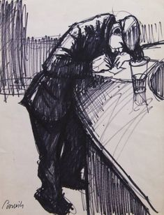 Man at bar ii by Norman Cornish
