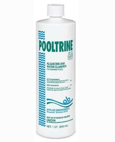 Applied Biochemists Pooltrine 60 Algeacide Clarifier 407303 by 60 Algeacide Clarifier. $17.00. 407303. cleans treates prevents fix green algae. Treats and prevents all types of green algae increasing water clarity. 60 Algeacide Clarifier. Applied Biochemists Pooltrine 60 Algeacide Clarifier 407303. Applied Biochemists Pooltrine 60 Algeacide Clarifier 407303  Concentrated non-foaming polymer algaecide. Treats and prevents all types of green algae while increasing w...
