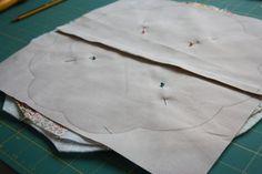 Dresden quilt - split backing to allow ease of turning the scallped flower petal edge