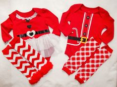 Christmas chevron leg warmers and onesie set Sell is for one bodysuit and one pair leg warmers ... choose from the drop down menu for boy or girl