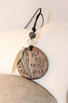 Fly Me To The Moon Pendant OOAK  Wings by ritcheySMITH on Etsy, kr160.00