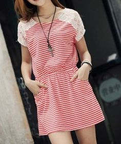 Striped Lace Cotton Dress