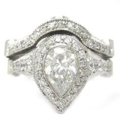 Pear Shape Diamond Bezel Set Engagement Ring And Band 2.22Ctw - http://www.loveuniquerings.com/rings-for-women/pear-shape-diamond-bezel-set-engagement-ring-and-band-2-22ctw/