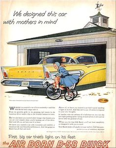 '58 Buick. Designed with mothers in mind? Is she about to run over her child??