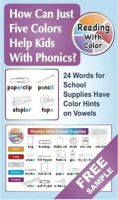 For an EASY phonics activity, display the school supplies poster. Have kids trace short vowels in orange and long vowels in red, then match picture cards to word cards. Color hints help kids sound out ANY word!