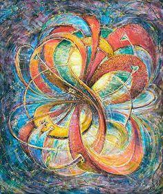 """Multidimensional Eternal Bliss""is for Love and Good Luck - original metaphysical energy fine art painting  by world renowned Artist Elena Khomoutova at www.LightFromArt.com"