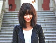 long hairstyles with bangs and glasses
