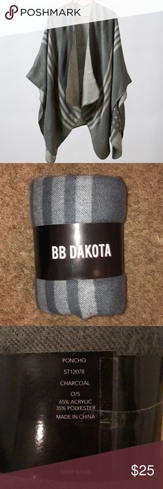 Poncho Charcoal grey poncho. Still packaged. One size, super soft. BB Dakota Sweaters Shrugs & Ponchos