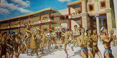 A reconstructed public festival at Knossos including a procession in the inner city near the palace-temple. The celebrants wave sistrums and broom-like objects and surround a figure wearing a scaled outfit, a reconstruction of the scene on the Harvester Vase