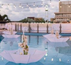 Wedding pool party Poolside Wedding Decorations - Floating Parasols Silk Sheets - Should We All Have Pool Wedding Decorations, Wedding Favors, Floating Pool Decorations, Swimming Pool Decorations, White Party Decorations, Decoration Party, Wedding Ideas, Wedding Invitations, Table Decorations