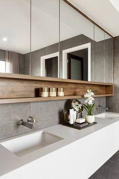 55 Stunning Farmhouse Bathroom Mirror Design Ideas And Decor - . 55 Stunning Farmhouse Bathroom Mirror Design Ideas And Decor - Always aspired. Bathroom Styling, Modern Bathroom Design, Bathroom Decor, Amazing Bathrooms, Luxury Bathroom, Farmhouse Bathroom Mirrors, Bathroom Interior Design, House Interior, Bathroom Design