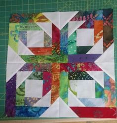 Sewing Block Quilts Batik and white pineapple blossom quilt block - Batik Quilts, Scrappy Quilts, Mini Quilts, Pineapple Quilt Pattern, Pineapple Quilt Block, Star Quilt Blocks, Strip Quilts, Quilting Projects, Quilting Designs