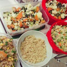 Prep day.  Vegies & Quinoa 3 ways  - Raw vegies, herbs, almonds, coconut & apple cidar vinegar - Roasted pumpkin, onion, parsley, peas & corn - Plain w added #wildandfreefoods Paleo topper, extra coconut & fresh banana for breakfast time or desert #wildandfreeinc #prep #quinoa #fortheloveofpaleo #paleo #vegies #raw #delicious #nutritious #thinkrainbow #healthynotboring