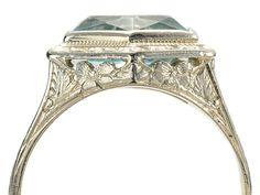 Art Deco Aquamarine White Gold Ring