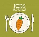 kids eating healthy food : menú infantil de diseño gráfico, ilustración vectorial