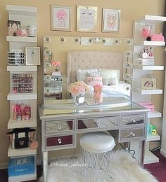 makeup bedroom ideas alluring makeup room ideas best ideas about Vanity Room Ideas Elegant Vanity Room Ideas Ideas My New Room, My Room, Room Art, Make Up Tisch, Girls Bedroom, Bedroom Decor, Bedroom Ideas, Bedroom Designs, Bedroom Furniture