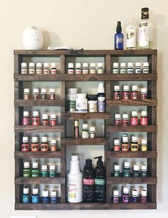 Trendy ideas for diy organization projects essential oils Essential Oil Rack, Essential Oils Cleaning, Citrus Essential Oil, Rack Shelf, Wall Racks, Oil Storage, Storage Shelves, Ladder Shelf Diy, Natural Cleaning Products