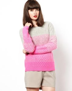 ombre cable-knit jersey