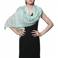 Stylish soft cashmere blend designer stole! Green stole fashion with golden stripes by Insiyah creation at dvibgyor.com #cashmere #Stoles #stolefashion #green #designer #womensfashion #dvibgyor