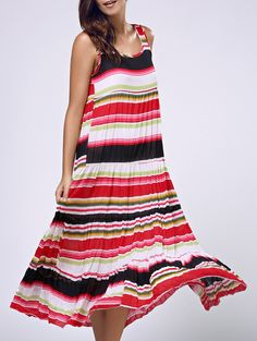 Women's Stylish Backless Lace Splicing Sleeveless Cut Out Dress #Summer_Dresses #Stripes_Dresses #Beach_Dresses