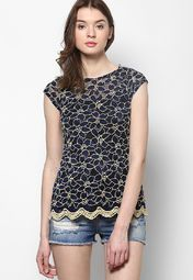 Raindrops Blue Knit Lace Top Online Shopping Store