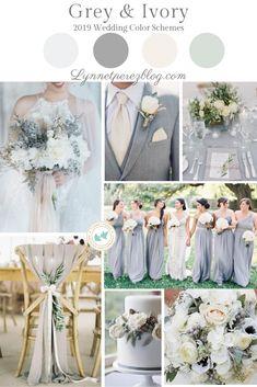 12 Top Wedding Color Schemes & Palette Trends 2019 - Grey & Ivory - W. Wedding Motif Color, Beach Wedding Colors, Wedding Motifs, Neutral Wedding Colors, Wedding Color Schemes, Color Palette For Wedding, Elegant Wedding Colors, Colour Schemes, Wedding Venue Inspiration