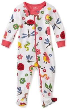 Hatley - Baby Girls Infant Nordic Bugs All Over Footed Coverall