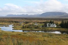 Thingvellir national park in Iceland - country buildings, a cemetery and gorgeous landscapes