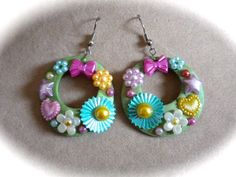 OOAK Boho Chic Hoop Earrings Fun for Spring Summer in Green with Pink, Blue, Yellow and Lavender Flowers, Bows, Hearts, Stars by ByKatDesigns on Etsy