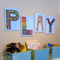 This fun art for the playroom is made with supplies from the dollar store!