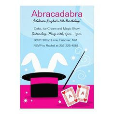 Girl's Magic Show Birthday Party Invitations