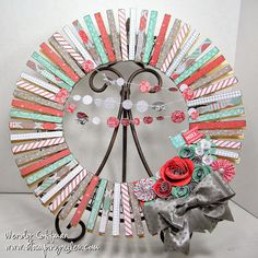 Stamping Rules!: Holiday From The Heart Linky Blog Hop Clothespin holiday wreath