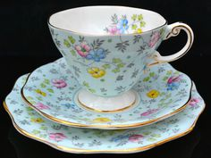Vintage Foley Bone China Blue Floral Trio Tea Cup Saucer Plate Set