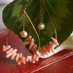 珊瑚×パール ドロップピアス