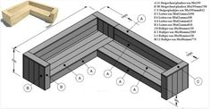 Building plan for yourself a corner sofa of scaffolding wood. Deck Seating, Garden Seating, Outdoor Seating, Diy Outdoor Furniture, Garden Furniture, Outdoor Decor, Furniture Plans, Patio Furniture Cushions, Lounge Furniture