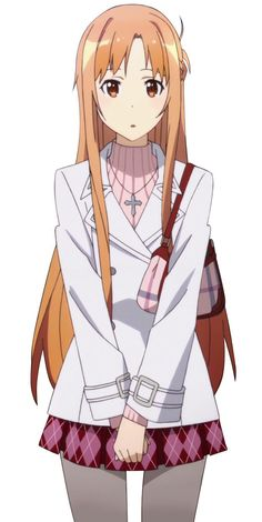 Asuna (アスナ, Asuna?) is a heroine and the partner of Kirito in the Sword Art Online series. She was the sub-leader of the «Knights of the Blood» guild in «Sword Art Online». Her real name is Yuuki Asuna (結城 明日奈, Yūki Asuna?), and she is the daughter of the former CEO of RCT Progress Inc.