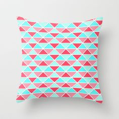 Triangles-Coral/Mint Throw Pillow by Dale Keys | Society6