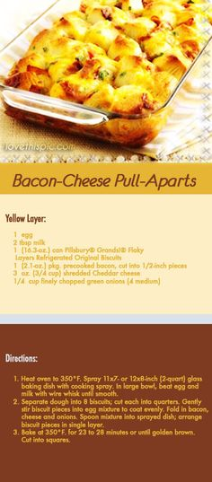 Bacon-Cheese Pull-Aparts yummy cheese delicious recipe recipes ingredients easy recipes easy recipe bacon pull-apart cheesy mouthwatering